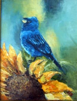 "Indigo Bunting 11"" x 14"" Oil on Canvas Framed"