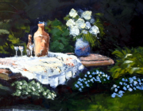 Picnic For Three Oil on Canvas Framed